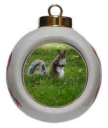 Squirrel Porcelain Ball Christmas Ornament