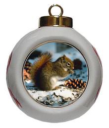 Squirrel Porcelain Ball Christmas Ornament
