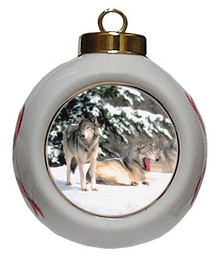 Wolf Porcelain Ball Christmas Ornament