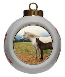 Horse Porcelain Ball Christmas Ornament