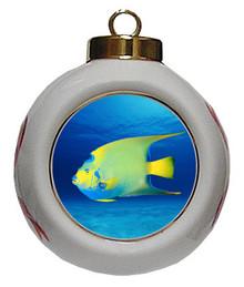 Angelfish Porcelain Ball Christmas Ornament