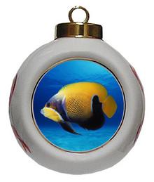 Blue Girdled Angelfish Porcelain Ball Christmas Ornament