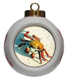 Crab Porcelain Ball Christmas Ornament