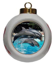 Dolphin Porcelain Ball Christmas Ornament