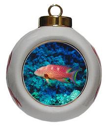 Grouper Porcelain Ball Christmas Ornament