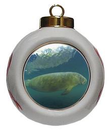 Manatee Porcelain Ball Christmas Ornament