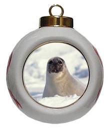 Seal Porcelain Ball Christmas Ornament