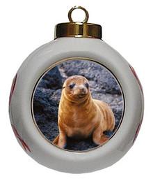 Sea Lion Porcelain Ball Christmas Ornament
