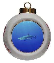 Shark Porcelain Ball Christmas Ornament