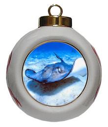 Stingray Porcelain Ball Christmas Ornament