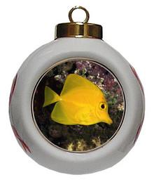 Yellow Tang Porcelain Ball Christmas Ornament