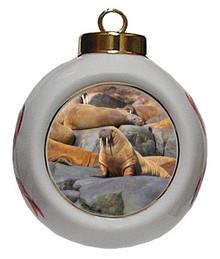 Walrus Porcelain Ball Christmas Ornament