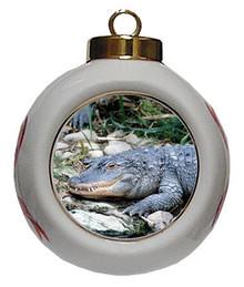 Alligator Porcelain Ball Christmas Ornament