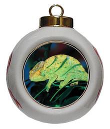Chameleon Porcelain Ball Christmas Ornament
