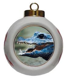 Crocodile Porcelain Ball Christmas Ornament