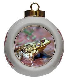 Green Frog Porcelain Ball Christmas Ornament
