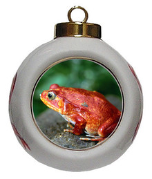 Tomato Frog Porcelain Ball Christmas Ornament