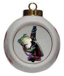 Tree Frog Porcelain Ball Christmas Ornament