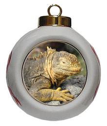 Iguana Porcelain Ball Christmas Ornament