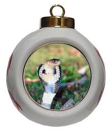 Cobra Snake Porcelain Ball Christmas Ornament