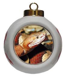 Copperhead Snake Porcelain Ball Christmas Ornament
