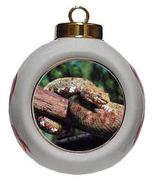 Viper Snake Porcelain Ball Christmas Ornament