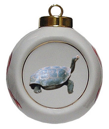 Turtle Porcelain Ball Christmas Ornament
