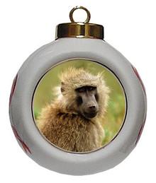 Baboon Porcelain Ball Christmas Ornament