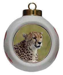Cheetah Porcelain Ball Christmas Ornament