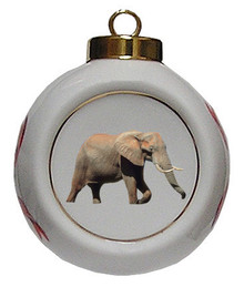Elephant Porcelain Ball Christmas Ornament