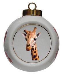 Giraffe Porcelain Ball Christmas Ornament