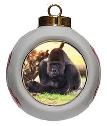 Gorilla Porcelain Ball Christmas Ornament
