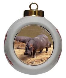 Hippo Porcelain Ball Christmas Ornament