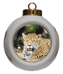 Jaguar Porcelain Ball Christmas Ornament