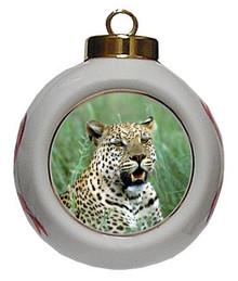 Leopard Porcelain Ball Christmas Ornament