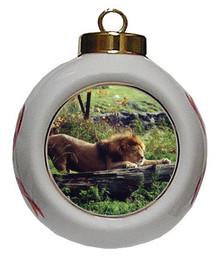 Lion Porcelain Ball Christmas Ornament