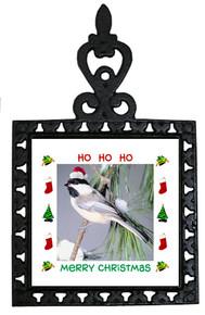 Chickadee Christmas Trivet
