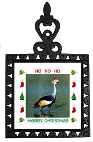 Crowned Crane Christmas Trivet