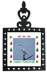 Egret Christmas Trivet