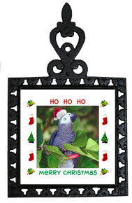 African Grey Parrot Christmas Trivet