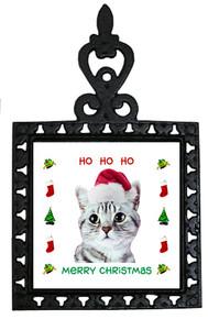 American Shorthair Cat Christmas Trivet