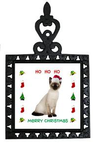 Siamese Cat Christmas Trivet