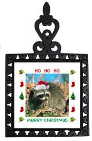 Raccoon Christmas Trivet