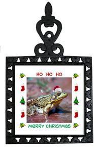 Green Frog Christmas Trivet