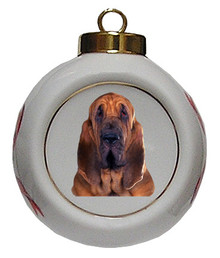 Bloodhound Porcelain Ball Christmas Ornament
