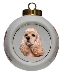 Cocker Spaniel Porcelain Ball Christmas Ornament