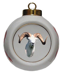 Big Horned Sheep Porcelain Ball Christmas Ornament
