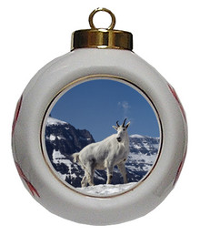 Mountain Goat Porcelain Ball Christmas Ornament