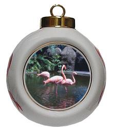 Flamingo Porcelain Ball Christmas Ornament