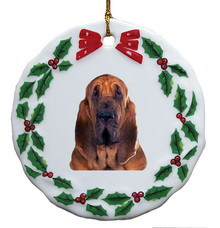 Bloodhound Porcelain Holly Wreath Christmas Ornament